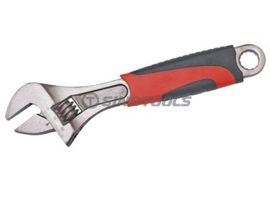 Adjustable Wrench with Double Color Plastic Handle