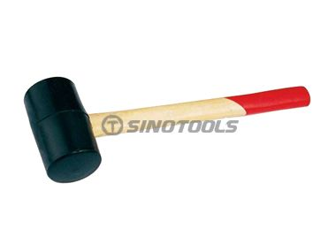 Rubber mallet with wooden hanldle