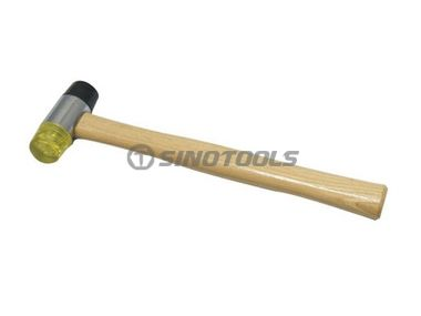 Two-way hammer with wooden handle